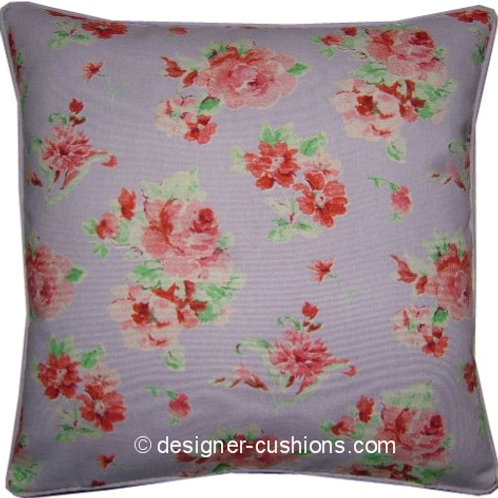 Shabby Chic Lilac Pink Floral and Polka Dot Cotton Duck Cushion Cover