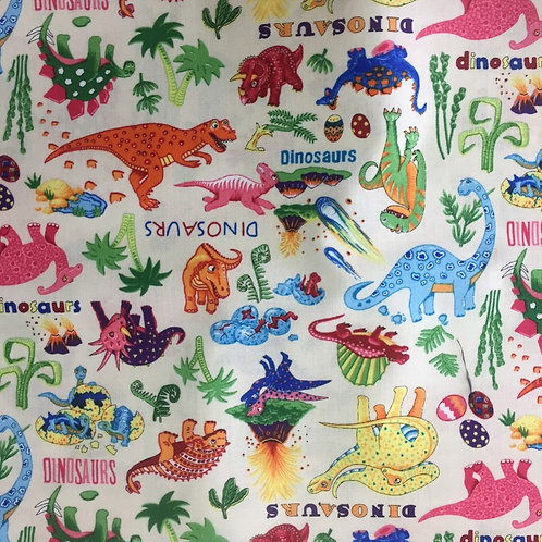 Nutex Novelty Dinosaur Dance Cream Background Quilt Fabric