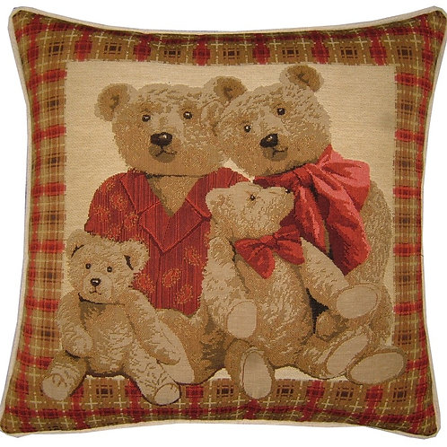 Red Teddy Bear Family Tapestry Cushion Cover