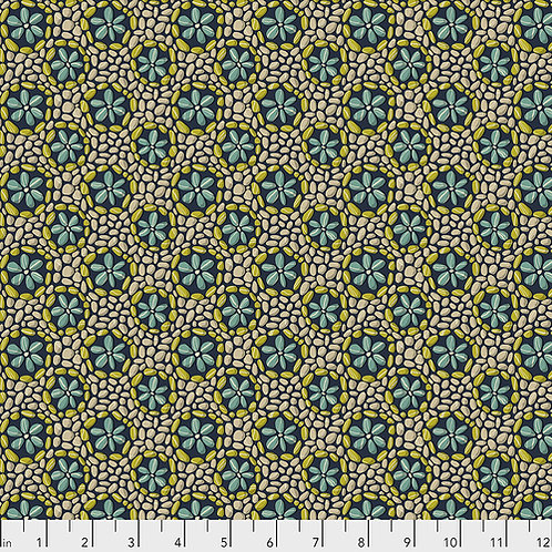 Odile Bailloeul Land Art Stone Flowers PWOB024.NAVY Quilt Fabric