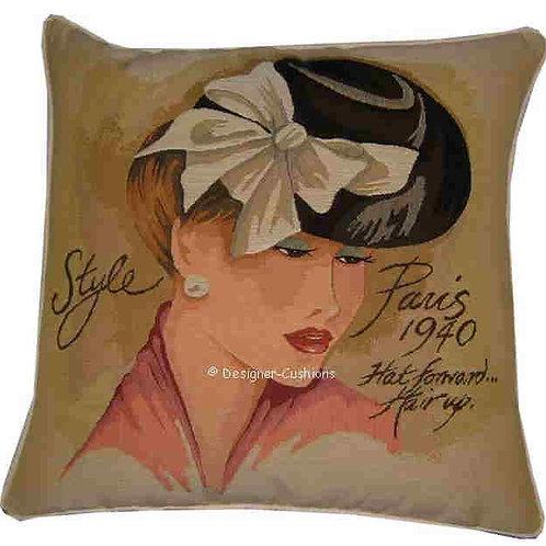 1940 Paris Hat Forward Hair Up Tapestry Cushion Cover