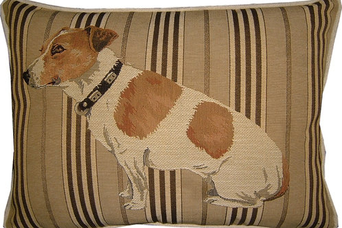 Jack Russell Sitting Oblong Stripe Tapestry Oblong Cushion Cover