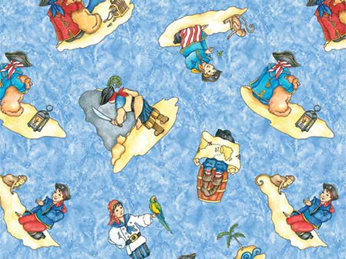 Avlyn Pirate Treasure Blue Tossed Pirates Quilt Fabric