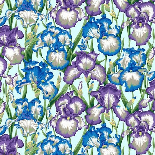 Kaffe Fassett Aug2020 - Bearded Iris PWPJ105 COOL Quilt Fabric
