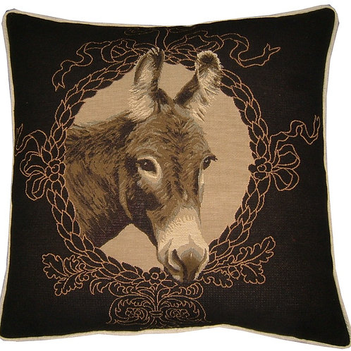 Donkey Mule Ass Black Tapestry Cushion Cover