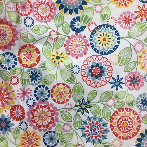 Nutex Novelty Kaleidoscope Flowers & Acorns Quilt Fabric