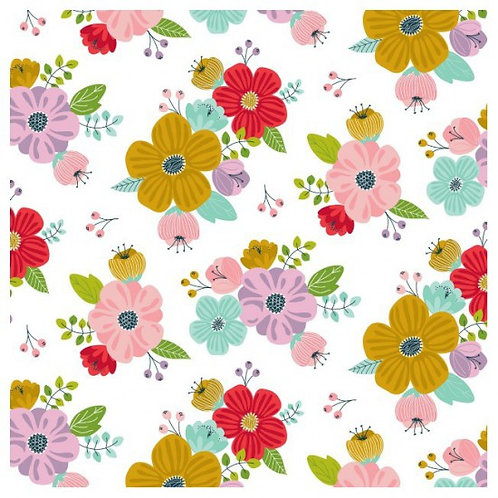 Nutex Novelty Sunshine White Floral 80560 Col1 Quilt Fabric
