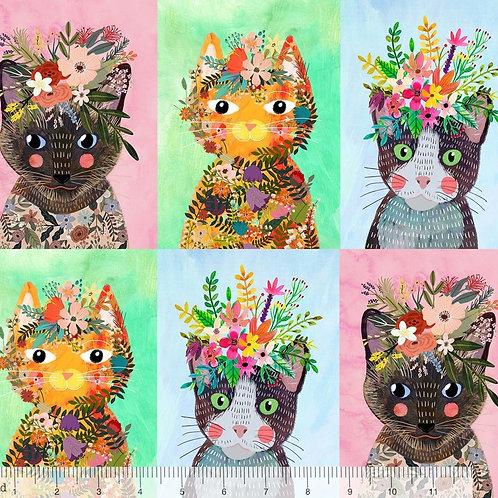 """Blend More Floral Pets Cats 30cm / 12"""" Quilt Fabric"""
