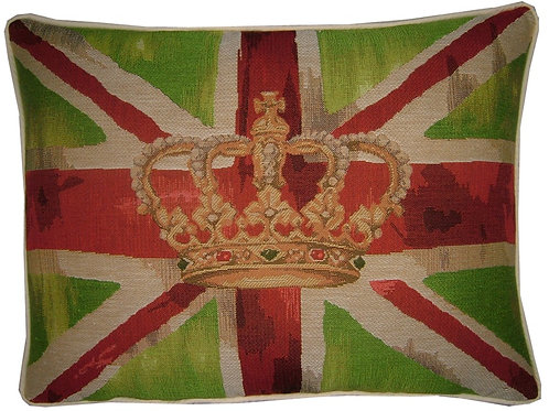 Union Jack Lime Green Design #1 Flag Tapestry Oblong Cushion Cover