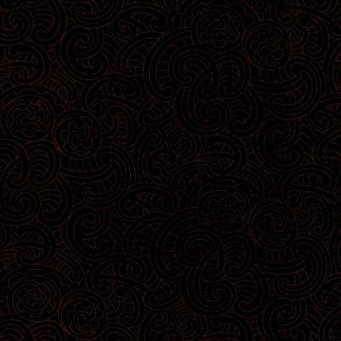 Nutex Kiwiana Ponga Koru Black Quilt Fabric
