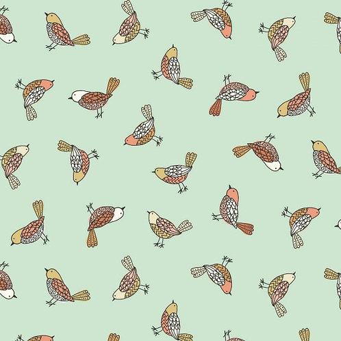 Makower Doodle Days Green Birds Quilt Fabric