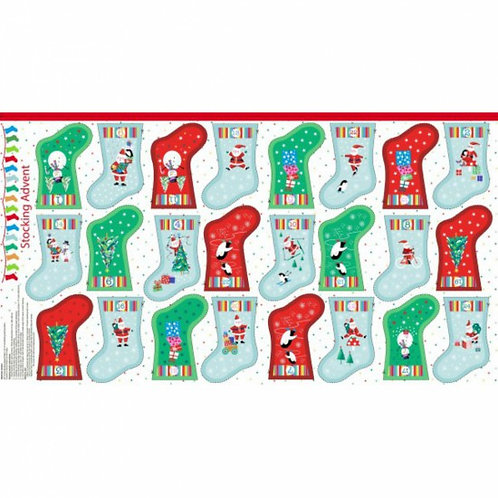 "Makower Jolly Santa Stocking Advent Calendar 60cm / 24"" panel"