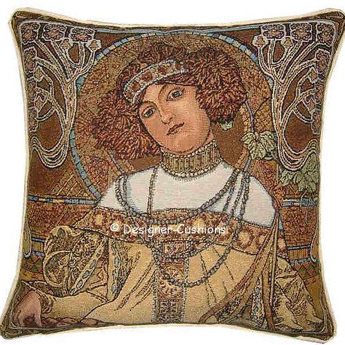 Alphonse Mucha Autumn Fall Tapestry Cushion Cover