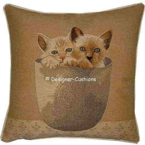 Pair of Kittens in Vase Tapestry Cushion Cover