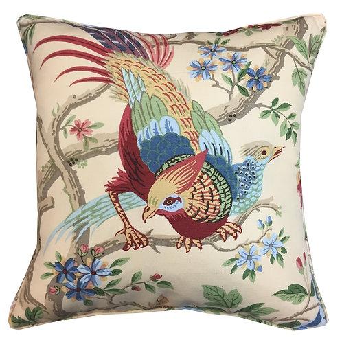 Schumacher 'Pheasant Arbor' Cream Linen Cushion Cover