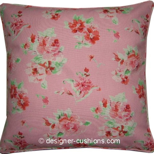 Shabby Chic Rose Pink Floral Cotton Duck Cushion Cover