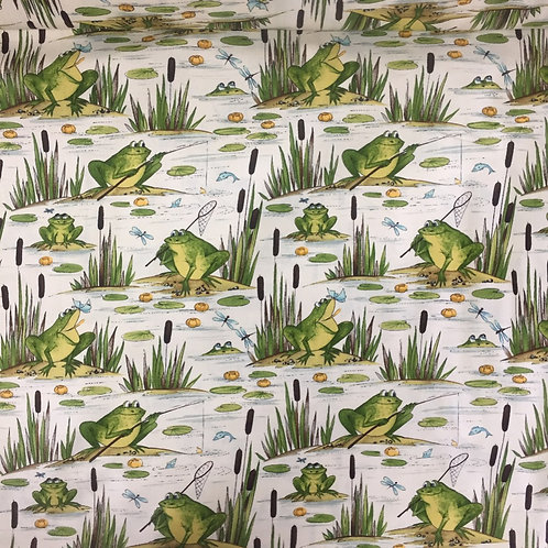 Timeless Treasures Fishing Frogs Cream Quilt Fabric