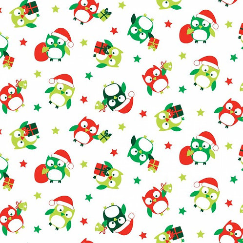 Nutex Hoots Owls Christmas Quilt Fabric 89230 Col4
