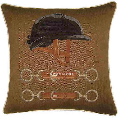 Equestrian Riding Hat Tapestry Cushion Cover
