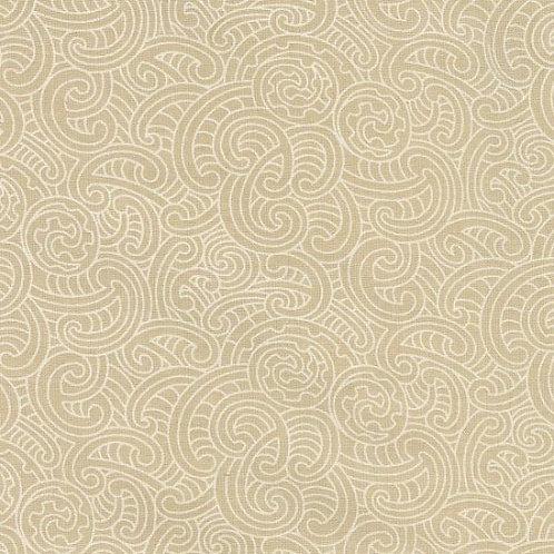 Nutex Kiwiana Ponga Koru Beige Quilt Fabric 85600 Col3