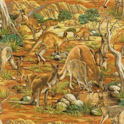 Nutex Australiana Kangaroos Roos Animal Quilt Fabric