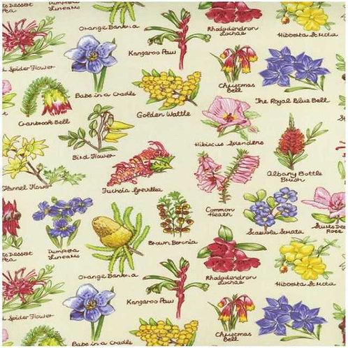 Nutex Australiana Flowers Flora Cream Quilt Fabric Col 1