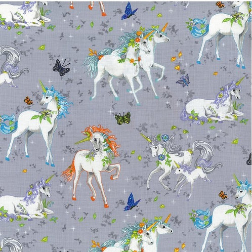 Nutex Novelty Pretty Please Unicorns Grey Quilt Fabric 89750 Col3
