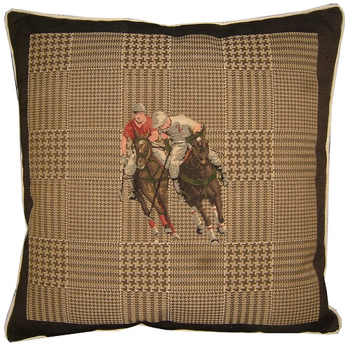 Two Polo Players Horse Tapestry Cushion Cover