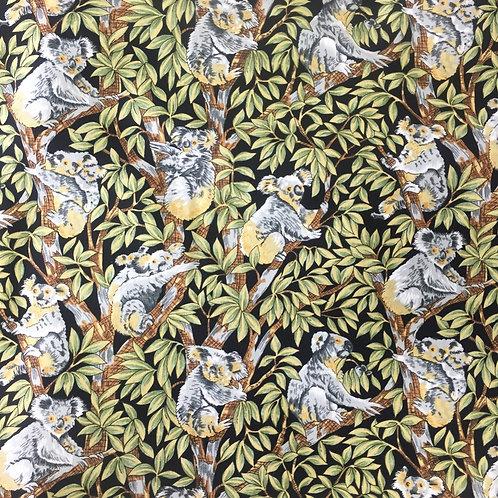 Nutex Australiana Up A Gum Tree Koalas Black Quilt Fabric