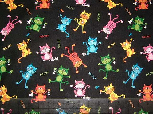 Nutex Novelty Top Cat Multicoloured Bright Allover Quilt Fabric