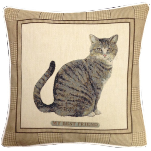 Best Friend Tabby Cat Tapestry Cushion Cover