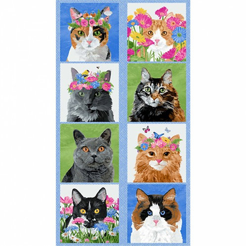 "Andover Meow Meadow Cat Panel 60cm / 24"" Panel Quilt Fabric"