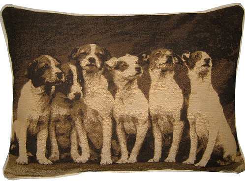 Jack Russell Terrier Puppies Sepia Tapestry Oblong Cushion Cover