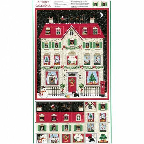 "Makower House Advent Calendar Panel 60cm / 24"" Quilt Fabric 93310"