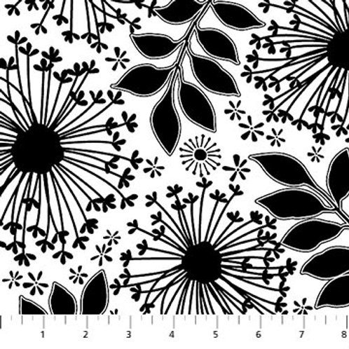 Northcott Ebony & Ivory Floral Black & White 21278-10 Quilt Fabric