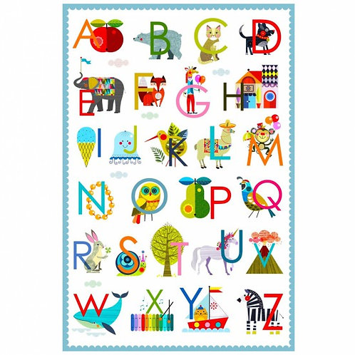 Nutex Alphabet Soup Cot Panel 90cm Quilt Fabric