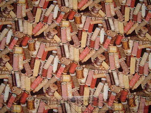Makower Stash Beige Cotton Reels Sewing Novelty Quilt Fabric