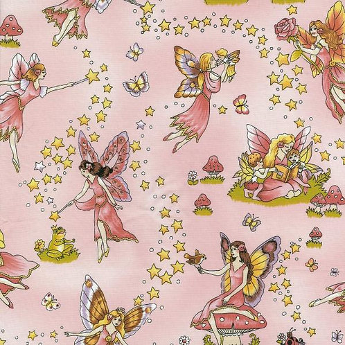 Nutex Novelty Swan Lake Pink Fairies Novelty Quilt Fabric