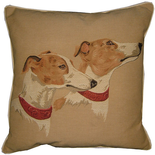 Greyhound Heads Tapestry Cushion Cover