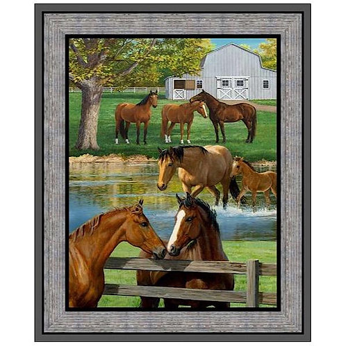 Springs Summer Breeze Horse Panel Quilt Fabric 90cm