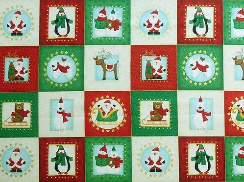 Makower Christmas Novelty Card Making Squares Quilt Fabric