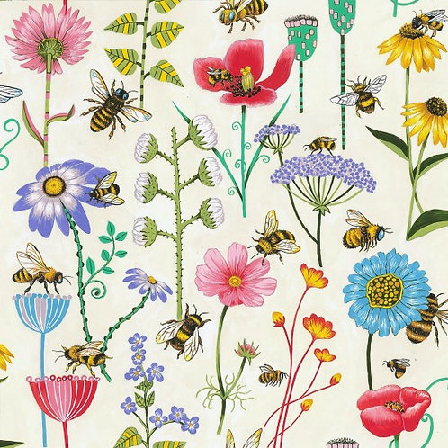 Nutex Novelty Bee Haven Floral 89810 Col1 Quilt Fabric