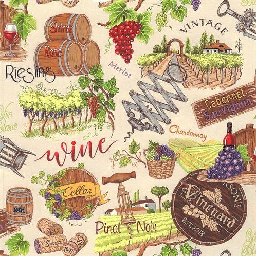 Nutex Vines & Wines Novelty Cream Quilt Fabric