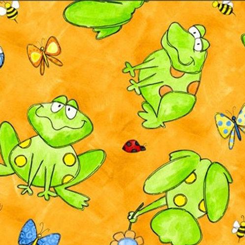 Tara's Brights Orange Frogs Quilt Fabric