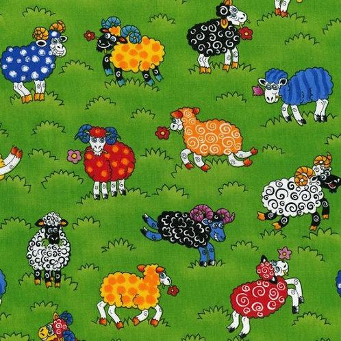 Nutex Novelty Rainbow Sheep Quilt Fabric 87650