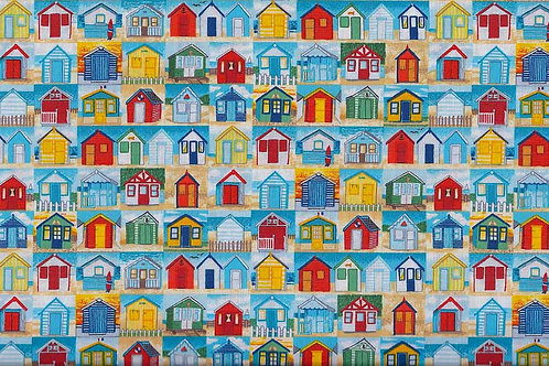Makower Sea Beach Huts Col5 Quilt Fabric