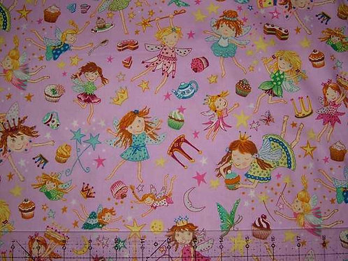 Nutex Novelty Flying Fairies Pink Novelty Quilt Fabric