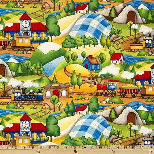 Wilmington Prints Riding the Rails Scenic Quilt Fabric 67184-743W