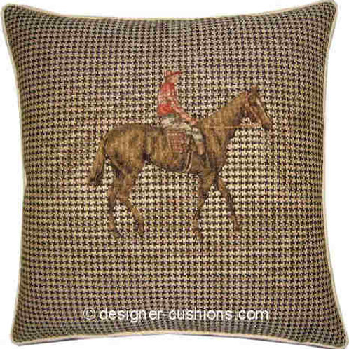 Horse & Jockey Red & White Silks Riding Tapestry Cushion Cover