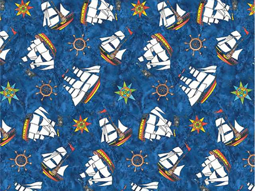 Avlyn Pirate Treasure Blue Tossed Pirate Ships Quilt Fabric